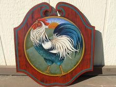 Acrylic painting of rooster on wood. Design by Ronnie Bringle painted by me