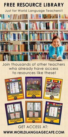 Join thousands of French and Spanish teachers who have already accessed the Free Resource Library. Over 25 free French lesson plans and free Spanish lesson plans plus more added throughout the year. Includes French and Spanish sub plans, 50 review games, Boom Cards, video clips, grammar activities, flashcards, and so much more. So many French and Spanish activities that your students will love! Free Spanish Lessons, Spanish Lesson Plans, Teacher Lesson Plans, Free Lesson Plans, Teaching French, Teaching Spanish, Spanish Teacher, Spanish Classroom, French Language Learning