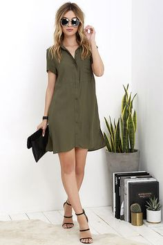 Simply Wonderful Olive Green Shirt Dress at Lulus.com!
