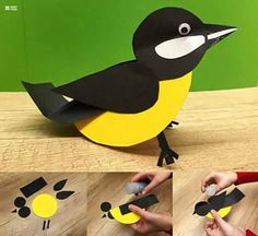 Easy Paper Craft Ideas for Kids with DIY Tutorials Recycled Crafts paper craft ideas - Paper Crafts Paper Animal Crafts, Bird Paper Craft, Paper Birds, Paper Animals, Bird Crafts, Art N Craft, Paper Crafts For Kids, Recycled Crafts, Easy Crafts