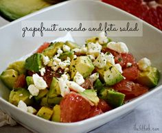 Grapefruit, Avocado, Feta Salad - Also delicious as a topping or relish for fish, seafood, pork and other healthy recipes - TheFitFork.com