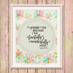 by ThePixelBox on Etsy Fearfully Wonderfully Made, Inspirational Wall Art, Quote Posters, Psalms, Bible Verses, Motivational Quotes, Typography, Printables, Unique Jewelry