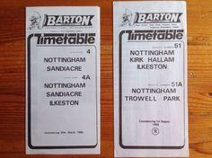 Example of barton transport timetables Bus Travel, Nottingham, Vintage Antiques, Transportation