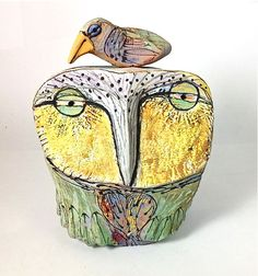Owl art sculpture Owl Person and the Beauty Bird by BlueFireStudio, $155.00