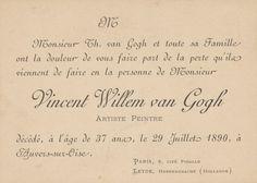 Rouwkaart n.a.v. overlijden Vincent van Gogh, juli 1890, Van Gogh Museum, Amsterdam