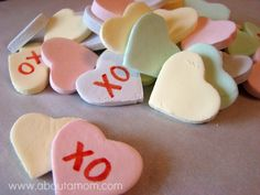 DIY Conversation Hearts- made with: •1 packet (1/4 ounce) unflavored gelatin   •4 ounces of Sprite   •3 pounds powdered sugar   •¼ teaspoon salt   •food coloring