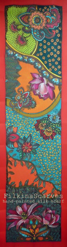Hand Painted Silk Scarf Orange Red Blue Lilies Paisley Mandala