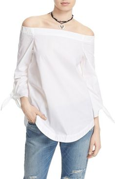 The Free People 'Show Me Some Shoulder' Off the Shoulder Cotton Blouse that everyone wants right now! Click to buy on ShopStyle