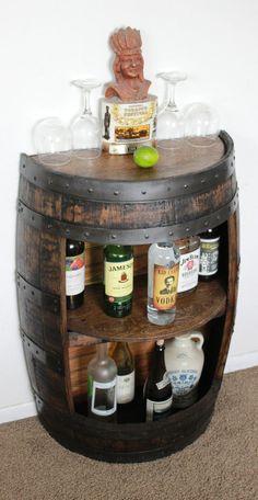 Whiskey Barrel Half Bar Large 53 Gallon, Bourbon Barrel, Wine Barrel Shelf, Liquor Cabinet, Home Bar - Home Bar Cabinet, Drinks Cabinet, Liquor Cabinet, Cabinet Ideas, Alcohol Cabinet, Table Baril, Whisky Regal, Canto Bar, Wine Barrel Furniture