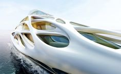 The lattice-like forms that wrap around the mother ship's hull are classic evocations of the forms that have emerged from Hadid's architecture studio over the past two decades, while the extensive use of composite materials in boat-building offers up endless possibilities for seamless structural shapes