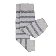 Hoppediz® Babystulpen aus Kaschmir / Merinowolle: creme mit grauen Streifen