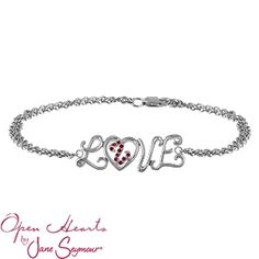 "Open Hearts Love Bracelet with Rubies l A loving heart beats at the center of the word ""Love"" in this delightful double cable chain bracelet from the Open Hearts by Jane Seymour® collection. The heart is filled with ten round color stones of your choice."