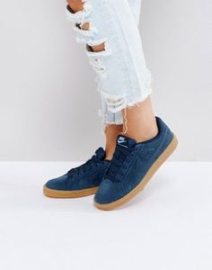 Nike Court Royale Trainers In Navy Suede