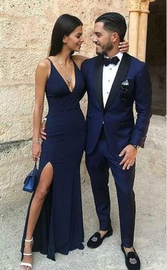 Charming Prom Dress, Navy Blue Mermaid Prom