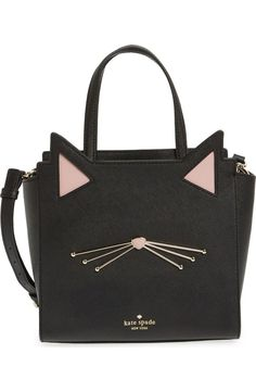 Adorable ears and whiskers lend a feline charm to this lavish Saffiano-leather satchel polished with gleaming goldtone accents by Kate Spade. @Nordstrom #Nordstrom
