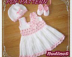 Crochet baby dress pattern, crochet dress set pattern, crochet hat shoes pattern, 0-12 months sizes dress pattern, How to make baby dress