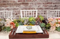 Nice use of succulents...    Table and Place Setting Ideas, Wedding Reception Photos by Lindye Galloway Events