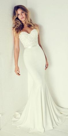 Wonderful Perfect Wedding Dress For The Bride Ideas. Ineffable Perfect Wedding Dress For The Bride Ideas. Dream Wedding Dresses, Bridal Dresses, Strapless Wedding Dresses, Dresses Dresses, Timeless Wedding Dresses, Silky Wedding Dress, Off White Wedding Dresses, Stylish Dresses, Stunning Wedding Dresses