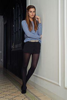 Black shorts and blue shirt Pantyhose Fashion, Pantyhose Outfits, Fashion Tights, Black Pantyhose, Nylons, Fashion Outfits, Womens Fashion, Cute Tights, Shorts With Tights