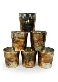 676533c42d6 Set of 6 Burnt Gold Mercury Glass Votive Candle Holders - 2.5