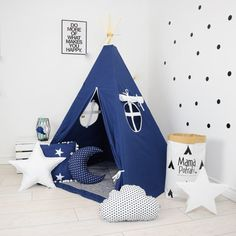 Teepee Set Kids Play Tent Tipi Kid Play Teepee Child Teepee Wigwam Zelt Tente- Summer Night Dream by MamaPotrafi on Etsy Kids Wigwam, Kids Play Teepee, Kids Tents, Child Teepee, Play Tents, Teepee Tent, Teepees, Baby Boy Rooms, Tipi