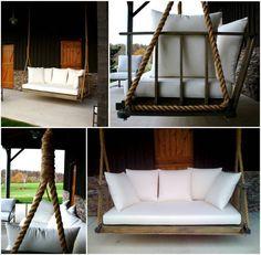 DIY porch swing to hang from pergola. Backyard Garden Design, Large Backyard, Fence Garden, Modern Backyard, Garden Boxes, Garden Ideas, Outdoor Spaces, Outdoor Living, Outdoor Decor