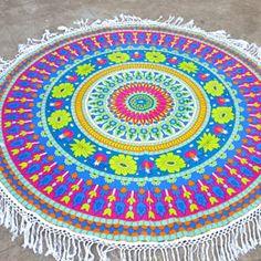 Blue Pink Floral Mandala Roundie with Tassels
