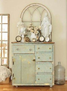 Cottage Home Decor farmhouse bedroom - salvaged architectural pieces and mismatched