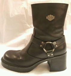 Harley Davidson Woman's Black Riding Boots Side Zip Size 10  #81026 #HarleyDavidson #Motorcycle #Everyday