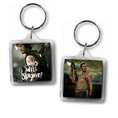 "Daryl Dixon Keychain Walking Dead Square Acrylic Keychain 1.5"" x 1.5"" Keyring Double Sided"
