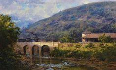 MAURO FERREIRA (1958). paisagem com Locomotiva e Riacho no Interior de Minas, óleo s tela, 46 X 75. Assinado e datado (2009)