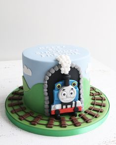 Kids Birthday Cakes - Recipes - first birthday cake-Erster Geburtstagskuchen Thomas Train Birthday Cake, Thomas Birthday Parties, 4th Birthday Cakes, Birthday Ideas, Birthday Cake For Kids, Thomas Tank Engine Cake, Thomas The Tank Cake, Thomas Cakes, Thomas Train Cakes