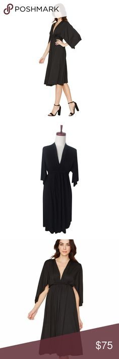 Rachel Pally Short Caftan Kimono Dress Black LBD PRE-OWNED RACHEL PALLY SHORT CAFTAN DRESS BLACK. SIZE XS. RETAILS FOR $220.  THIS KIMONO SLEEVE KNEE LENGTH DRESS IS AN ALL-TIME BEST SELLER!    BUILT-IN WAIST TIE MODAL JERSEY 92% MODAL/8% SPANDEX DRY CLEAN RECOMMENDED MADE IN THE USA  Great, pre-owned condition. Just the slightest hint of discoloration at unfinished edges. Please see close up. Rachel Pally Dresses