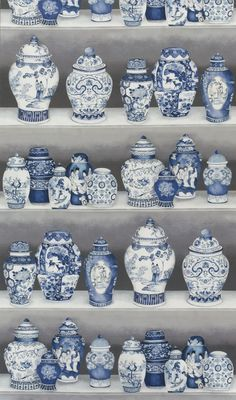 Blue and white ginger jars From Pierre Frey