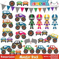 Monster truck party monster truck colection Clip Art by DimiPix