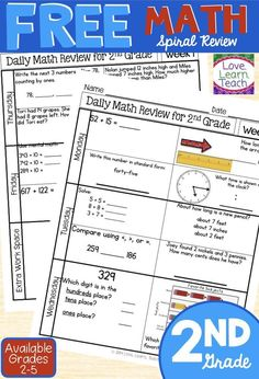 FREE 1-week sample of spiral Daily Math Review for 3rd grade ...
