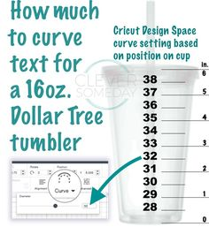 Handy chart from CleverSomeday to use when curving text for 16 oz tumblers with . - Silhouette Cameo Tutorials - Handy chart from CleverSomeday to use when curving text for 16 oz tumblers with Cricut Design Space - Cricut Air 2, Cricut Help, Inkscape Tutorials, Cricut Tutorials, Diy Tumblers, Glitter Tumblers, Custom Tumblers, Stencils, Cricut Craft Room