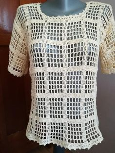 Handmade cotton crochet beige summer blouse/ crochet top/s Crochet Bodycon Dresses, Black Crochet Dress, Crochet Blouse, Crochet Top, Filet Crochet, Crochet Stitches, Crochet Patterns, Crochet Summer Tops, Easy Crochet Projects