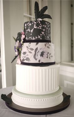 Swooned: The Latest and Greatest from Charm City Cakes West Black And White Wedding Cake, Black Wedding Cakes, Beautiful Wedding Cakes, Gorgeous Cakes, Pretty Cakes, Cute Cakes, Black White, Purple Wedding, Amazing Cakes