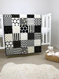 d710c21ede8c5 Black White and gold Baby Quilt Black and white nursery Quilt   Etsy Cot  Quilt,