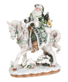 Fitz and Floyd Winter Garden Santa on Horse Figurine | zulily