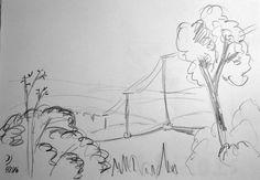 Schnelle Bleistiftskizze eines schönen Sichtpunktes über eine hügelige Landschaft aus Feldern mit Telegrafenleitung. Bisher noch nicht in Acryl umgesetzt