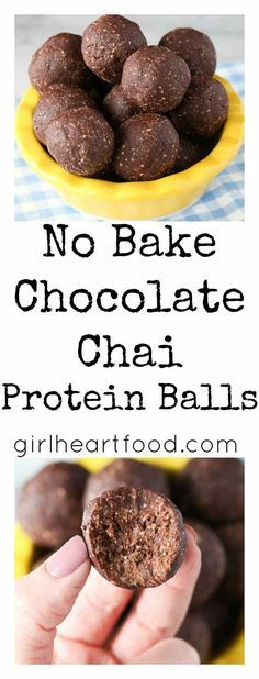 These No Bake Chocolate Chai Protein Balls take minutes to prepare and practically seconds to eat! They are loaded with wholesome ingredients like oats protein powder and almond butter! via Girl Heart Food Healthy Protein Snacks, Protein Bites, High Protein, Energy Bites, Protein Cake, Protein Muffins, Protein Cookies, Protein Foods, Paleo Protein Balls