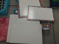 """The whiteboards in my classroom aren't """"real"""" whiteboards. They are the white panels for bathrooms from the hardware store. So, I used duct tape on the ones on my wall and the ones cut for student use. The duct tape makes it look a little more legit."""