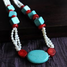 Turquoise and red coral with Freshwater Pearl Necklace by PEAFAIR