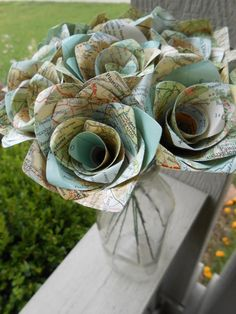 One Dozen Vintage MAP Paper Roses. Gift, Wedding, Anniversary, Birthday, Travel Wedding. CUSTOM ORDERS Welcome. by TreeTownPaper on Etsy