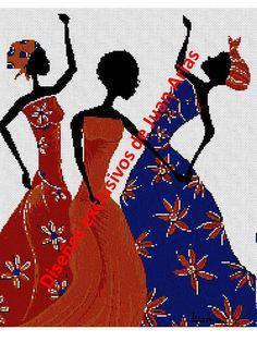Africanas a color en punto cruz