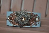 Blue and Brown Floral Leather Cuff Bracelet