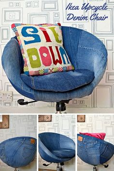 Ikea Hack. Revamp a boring Ikea Office chair by upholstering it in denim. It is a lot easier than you think. Step by step tutorial.