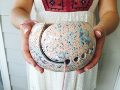 Knitting Accessories Pottery | Ceramic Yarn Bowl | Knitting Accessories | Pink and Blue handmade in my Charleston, SC studio